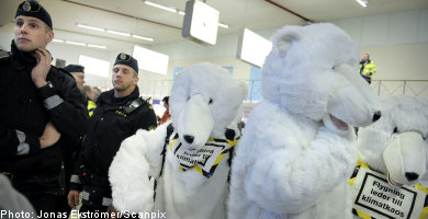 'Polar bear' activists invade airport