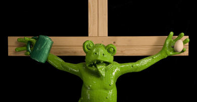 German crucified frog sculpture upsets Italy