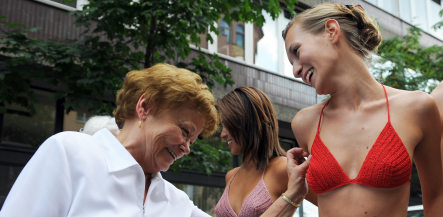 German grannies help produce modern crochet bikinis