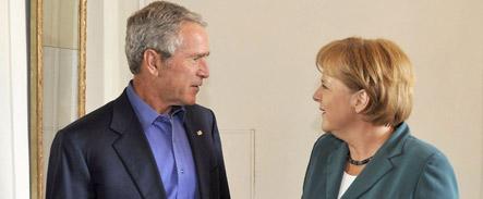 Bush to prod Merkel on Iran ties