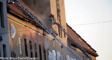 Violent fire damages Stockholm Courthouse