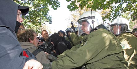 Clashes between neo-Nazis and protestors leave scores injured