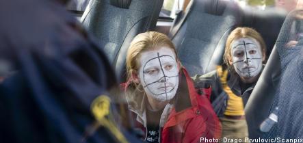 Demonstrators raid Malmö arms firm