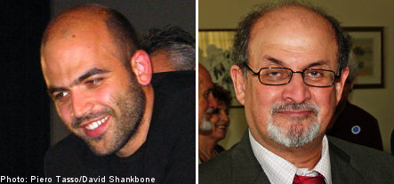 Security high for visit of Rushdie and Saviano