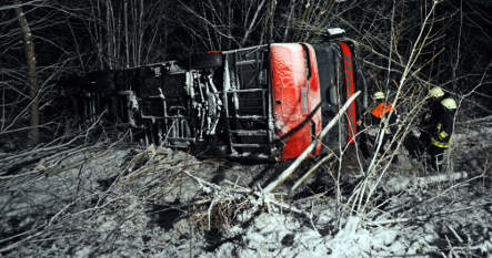 Double-decker bus flips on icy road