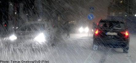 Winter storm blows over Sweden