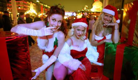 Vendor sells all-natural dildos at Hamburg Christmas market