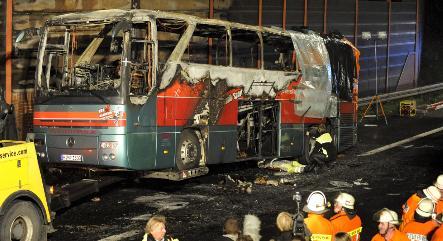 Police probe deadly autobahn bus fire