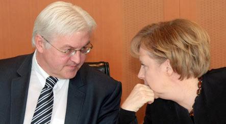 Chancellor candidate Steinmeier falling behind Merkel