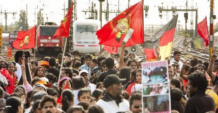 Tamil demonstrators block Frankfurt train traffic