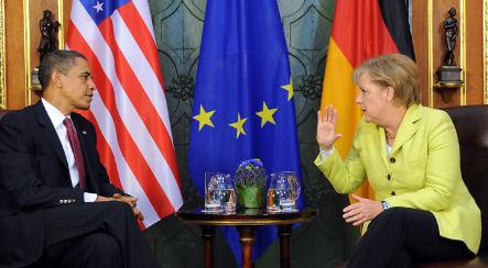 Obama meets with Merkel in Dresden