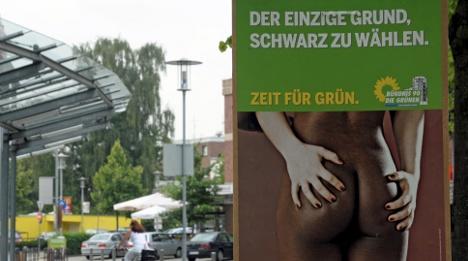 Greens remove campaign poster featuring bare buttocks