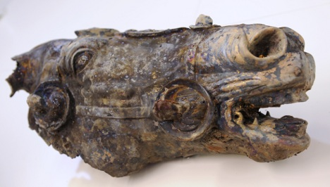 Hesse unveils fragments of Roman emperor statue found in stream