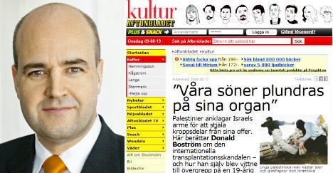 Reinfeldt rejects Israeli calls to condemn paper