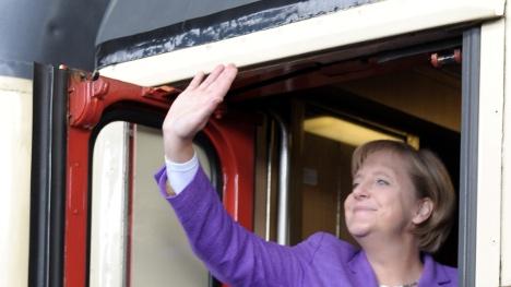 Merkel chugs through Germany on whistle-stop tour