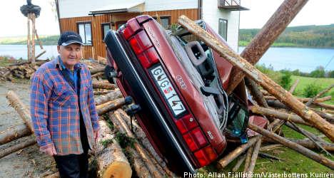 Flying logs crush Swedish man's home – again