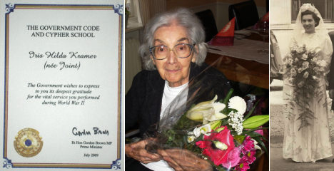 Iris, 92, honoured for wartime code-cracking heroics