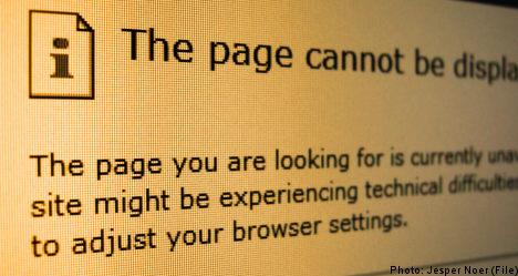 Tech glitch darkens Swedish websites