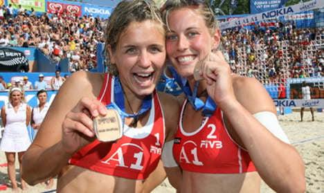 Top women's volleyball team prove work is a beach