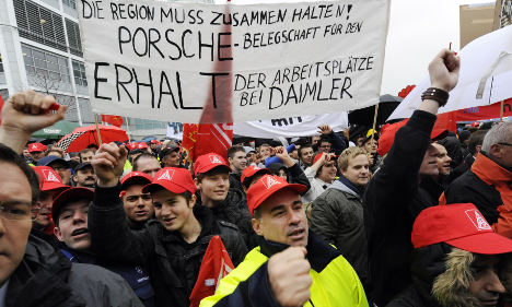 Mercedes-Benz workers protest possible factory move to US