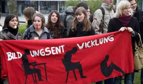 Students protest uni reform meeting