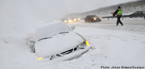 Snow prompts traffic trouble across Sweden