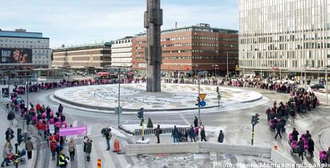 Stockholm pram march marks Women's Day
