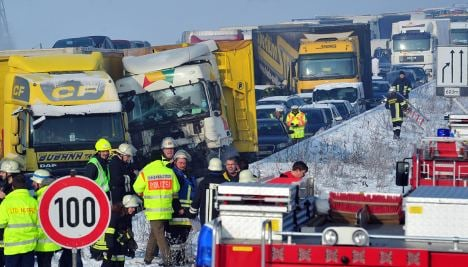 Heavy fog and snow cause huge autobahn pile-up in Bavaria