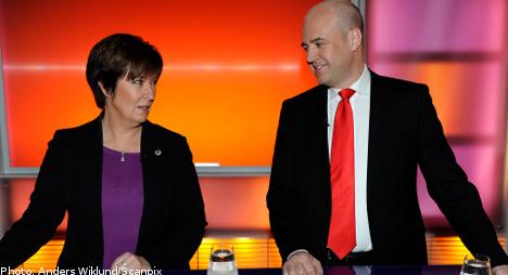 Reinfeldt and Sahlin lock horns in televised debate