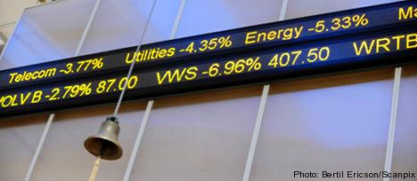 Stockholm markets recoil on debt crisis concerns