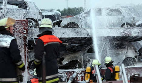 Arson suspected in 30-car harbour fire