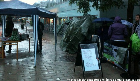 Foreign students camp out in housing protest