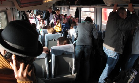 End of vacation traffic fills train to 200 percent capacity