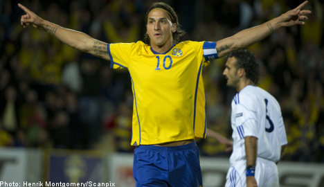 Ibrahimovic scores twice in 10-man Euro rout