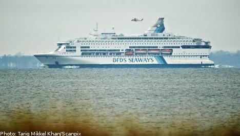 Swedish coastguard aids blazing ferry
