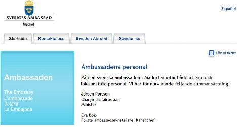 Swedish ambassador post in Spain still vacant