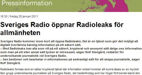 Swedish radio to launch its own 'WikiLeaks'
