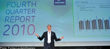 Ericsson sales improve on mobile broadband
