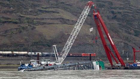 Hundreds of ships still stuck by Rhine wreck