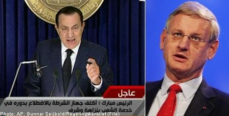 Bildt hails end of Mubarak era in Egypt