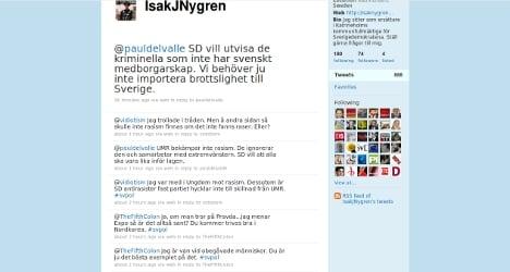 Sweden Democrat criticises 'race mixing'