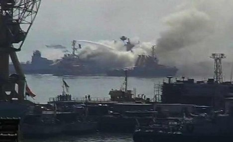 German freighter sinks Indian frigate