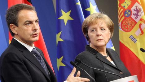 Merkel and Zapatero seek unity on euro