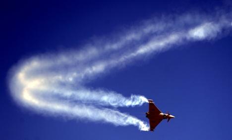 Eurofighter jet drops fuel tanks during training flight