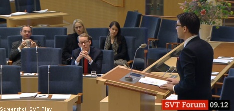 Swedish house debates migration policy