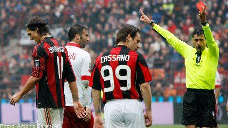 Ibrahimovic sent off as Milan falter