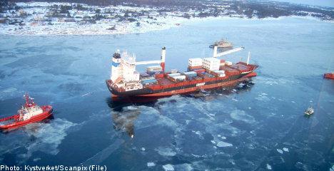 Grounded ship's fuel leak threatens Swedish coast