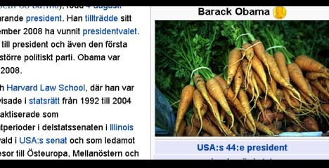 Swedish 'king' turns Obama into a bushel of Wiki-carrots