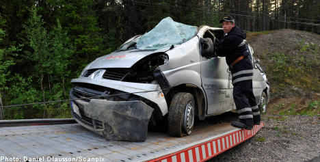 Minivan rollover kills two in northern Sweden