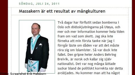 Sweden Democrats reject Norway attacks blame